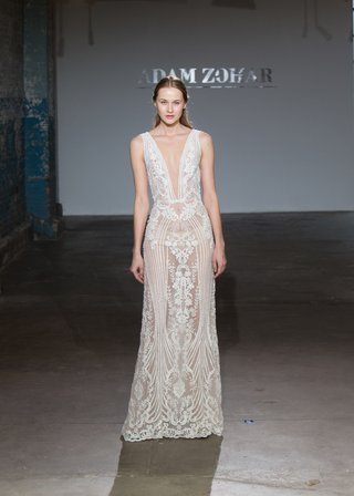 erika-by-adam-zohar-spring-2019-sheer-beaded-gown-with-art-deco-floral-pattern-plunging-neckline