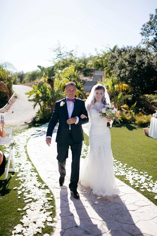 father-and-daughter-processional-mermaid-gown-double-wedding-petal-lined-aisle