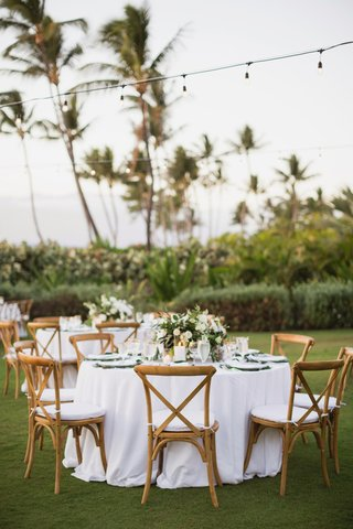 maui-destination-wedding-outdoor-reception-vineyard-chairs-white-linens-bistro-lights
