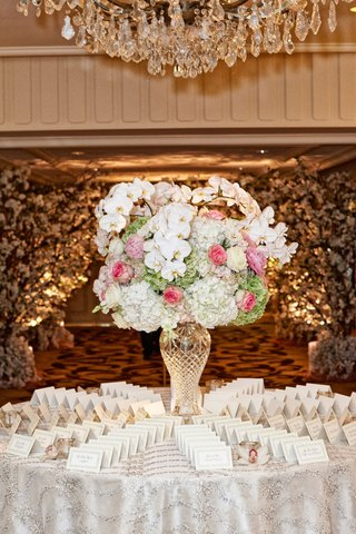 wedding-escort-card-table-with-crystal-vase-white-orchid-hydrangea-pink-rose-green-hydrangea