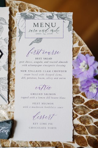 wedding-reception-menu-with-printed-grey-flowers-and-purple-details