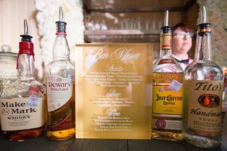 wedding-bar-menu-on-lucite-with-white-and-gold-stationery