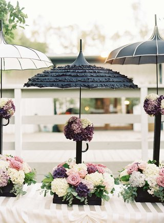 french-theme-wedding-decor-with-black-and-white-parasol-umbrellas-with-boxes-of-flowers