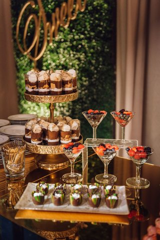 wedding-reception-dessert-table-chocolates-on-gold-cake-stand-berries-in-martini-glass-wedding-ideas