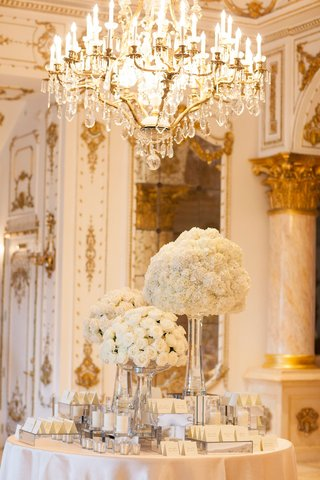 wedding-reception-round-table-with-white-rose-bouquet-arrangements-tall-ceilings-chandelier-white