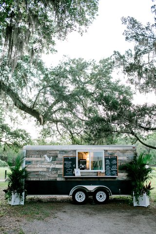 wedding-reception-cute-idea-mobile-bar-coffee-cart-trailer-wood-plank-panel-chalkboard-sign
