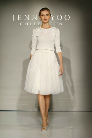 jenny-yoo-bridal-2016-sweater-and-below-the-knee-skirt