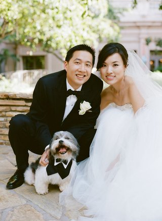 bride-and-groom-pose-with-small-gray-and-white-dog