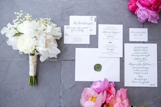 white-wedding-invitation-suite-with-green-wax-seal-monogram-green-calligraphy-simple-black-tie