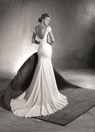 atelier-pronovias-2017-edrei-crepe-wedding-dress-with-low-back-short-sleeves-jewels-black-and-white