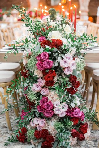 floral-runner-with-pink-burgundy-and-lavender-roses-with-ivory-hydrangeas-and-greenery
