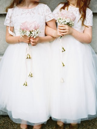 flower-girl-bouquet-with-bells-hanging-down-pink-peony-with-babys-breath