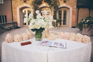 guestbook-with-photos-and-bridal-party-bouquets