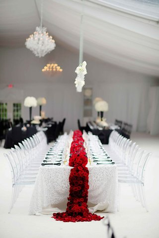 white-wedding-table-linen-with-red-flower-runner-and-clear-chairs
