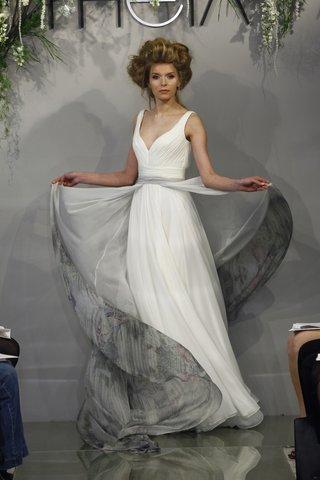 theia-melissa-silk-chiffon-wedding-dress-with-rouched-bodice-worn-with-printed-silk-apron