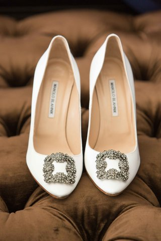 white-heels-metallic-buckle-manolo-blahnik-bridal-wedding