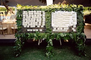 escort-card-seating-charts-on-glass-and-wall-of-leaves