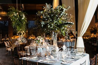 square-reception-table-with-centerpiece-of-only-greenery