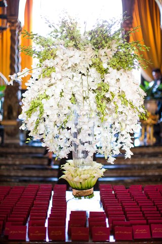 wedding-reception-escort-card-table-bright-red-crimson-burgundy-escort-cards-orchids-calla-lily-base
