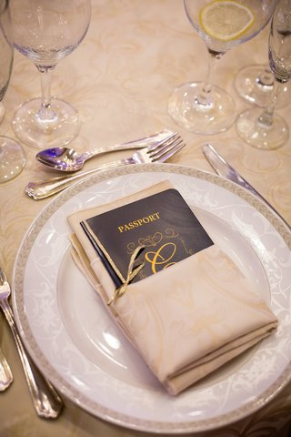 blue-wedding-reception-menu-in-form-of-passport-with-couples-surname-initial-in-gold
