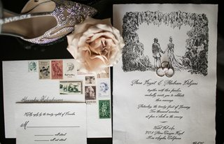 wedding-invitation-suite-calligraphy-with-sketch-illustration-of-couple-and-vintage-colorful-stamps