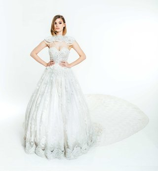 olia-zavozina-fall-2017-bridal-collection-catherine-wedding-dress-ball-gown-embroidered-lace-cape