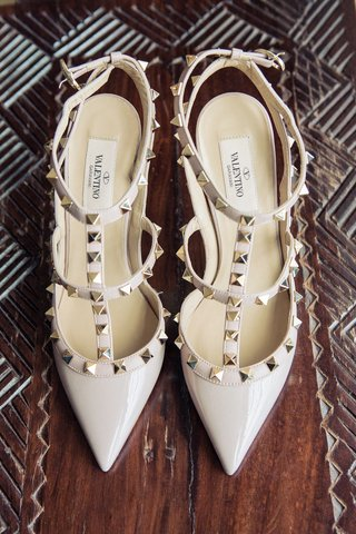 valentino-stud-strappy-pumps-for-bride-at-reception