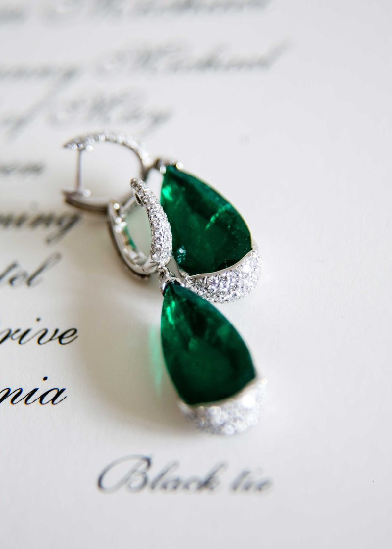 Emerald & Diamond Bridal Earrings