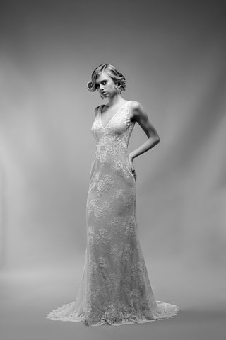 black-and-white-photo-of-jacqueline-wedding-dress-by-ivy-aster-v-neck-sheath-silk-chantilly-lace