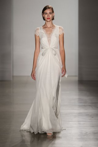 christos-fall-2016-silk-chiffon-wedding-dress-with-lace-cap-sleeves-and-bow-at-waist