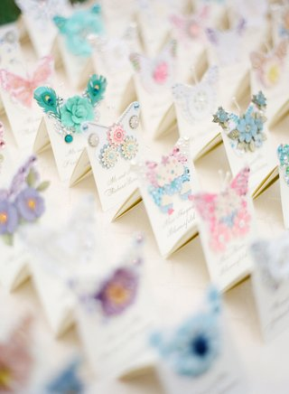 handmade-seating-card-with-butterflies-and-flowers