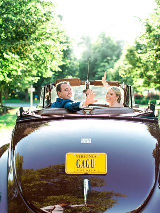 bride-and-groom-wave-goodbye-in-1940-ford-super-deluxe-sedan-car-virginia-license-plate-convertible