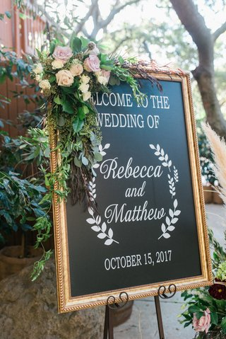 chalkboard-wedding-welcome-sign-with-flowers-and-greenery