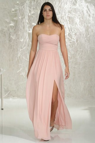watters-bridesmaids-2016-strapless-bridesmaid-dress-with-front-slit-in-pink
