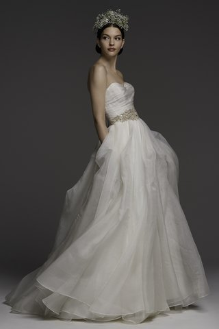 watters-spring-2018-clean-and-simple-strapless-a-line-gown-made-of-washed-silk-organza-with-pickups