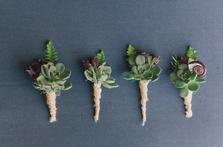 groomsmen-boutonniere-with-succulents-and-burlap