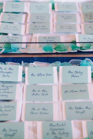 detriot-lions-quarterback-matthew-stafford-rehearsal-dinner-escort-cards-tiffany-blue-calligraphy