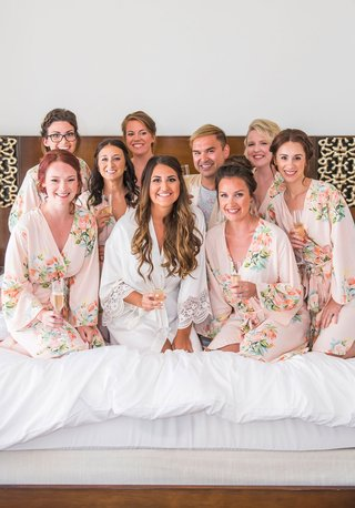wedding-day-getting-ready-white-robe-lace-for-bride-flower-print-robes-for-bridesmaids-and-bridesman