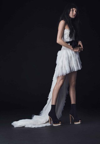 vera-wang-bride-fall-2016-high-low-wedding-dress-with-black-bow-and-train
