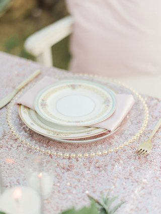 megan-nicole-youtube-singer-wedding-reception-sequin-tablecloth-beaded-charger-pretty-china-pattern