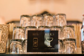 his-miller-lite-and-hers-white-wine-spritzer-black-and-gold-with-glassware-sign