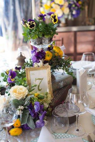 garden-inspired-arrangement-purple-yellow-flowers-new-york-city-bridal-shower-wedding-vintange