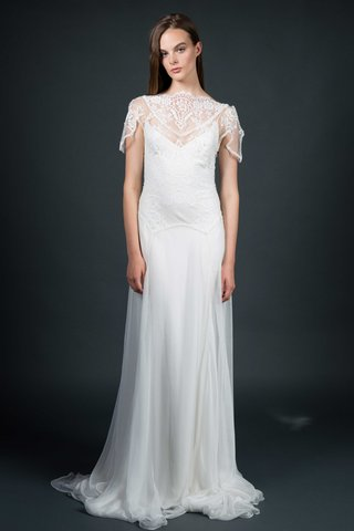sarah-janks-fall-2016-chiffon-and-lace-wedding-dress-with-short-sleeves-and-high-neckline