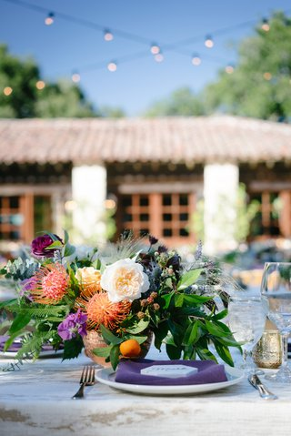 rustic-ranch-wedding-low-centerpieces-with-unusual-flowers-wildflowers