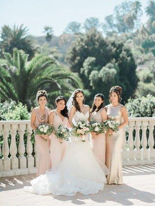 bridesmaid-dresses-champagne-tan-cowl-neck-jewel-shoulder-high-neck-v-neck-mismatched-dresses