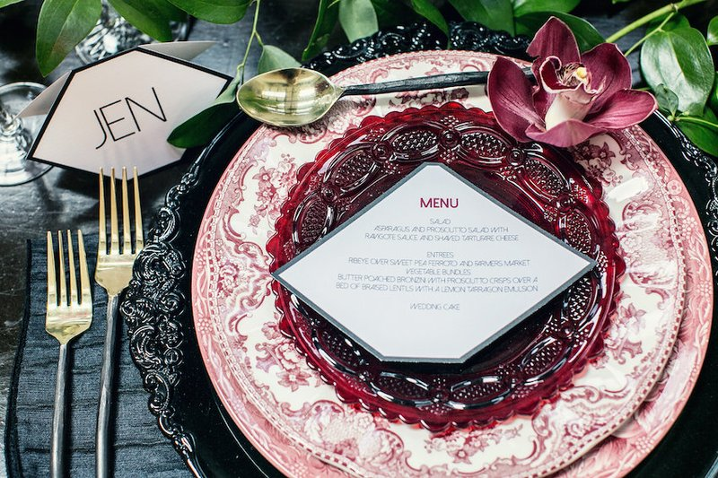 Striking Red, White & Black Place Setting