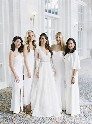 bride-in-monique-lhuillier-lace-long-sleeve-a-line-gown-bridesmaids-in-mismatched-white-dresses