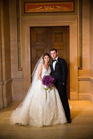 wedding-couple-kristina-bocci-and-driton-tomaj-wedding-portrait-ball-gown-tuxedo-bow-tie
