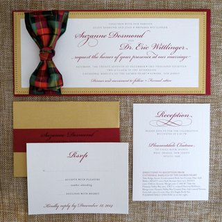 holiday-wedding-invitation-suite-in-gold-with-red-border-plaid-bow-in-green-red-gold-sweet-jane
