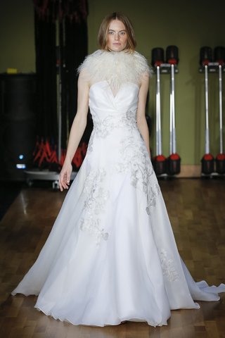 draped-notched-bodice-satin-organza-gown-accented-with-hand-applied-embroidered-lace-appliques-by-al